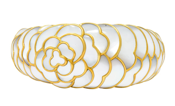 Angela Cummings Mother of Pearl 18 Karat Gold Floral Bangle Bracelet bracelet