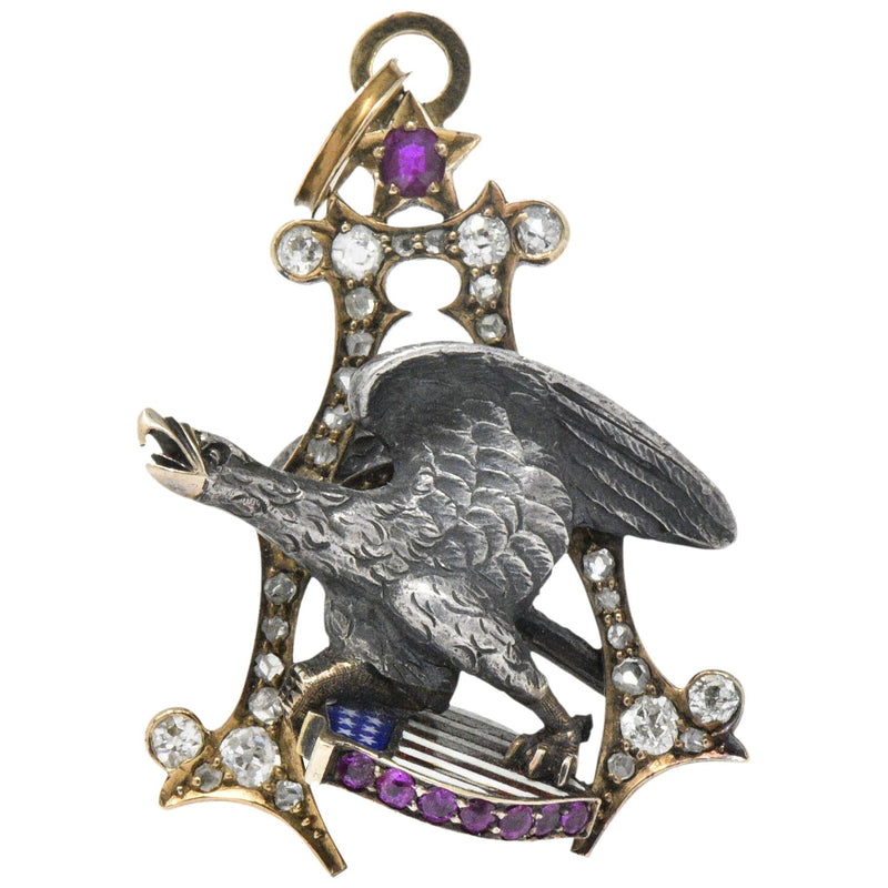 Anheuser Busch 1919 Diamond Ruby Enamel Sterling Silver 14 Karat Gold Eagle Pendant - Wilson's Estate Jewelry