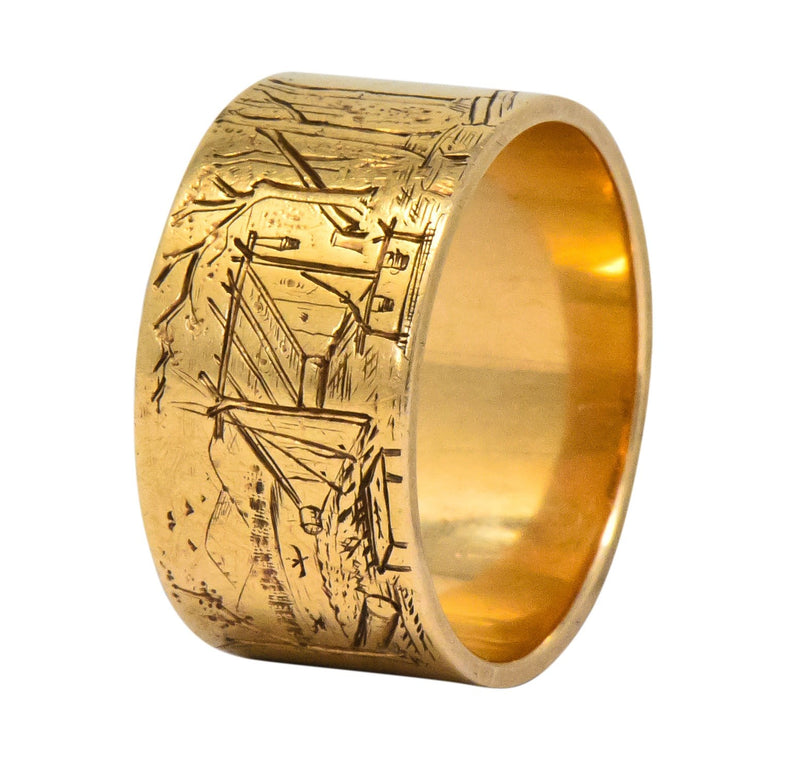 Antique 14 Karat Gold Etched Scenic Band Ring - Wilson's Estate Jewelry