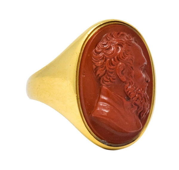 Antique Hardstone 18 Karat Gold Cameo Unisex Ring Ring