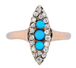 Antique Victorian 0.30 CTW Diamond Turquoise 14 Karat Gold Navette Ring - Wilson's Estate Jewelry