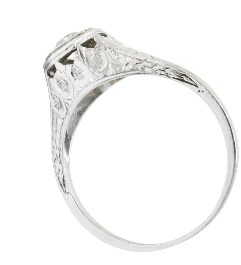 Art Deco 0.25 Carats Diamond And Platinum Engagement Ring Ring