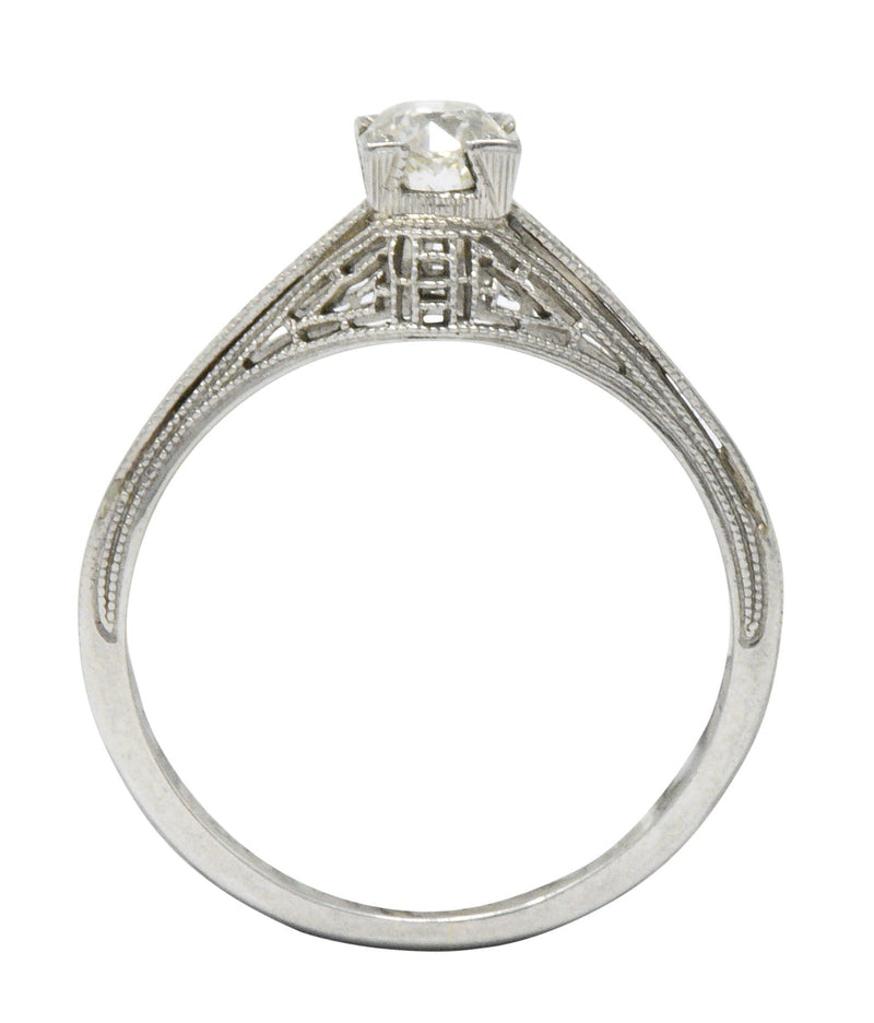 Art Deco 0.27 CTW Diamond 18 Karat White Gold Engagement Ring - Wilson's Estate Jewelry