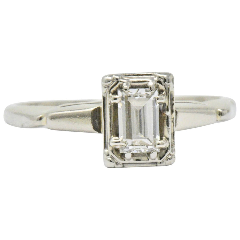 Art Deco 0.35 CTW Diamond 14 Karat White Gold Engagement Ring - Wilson's Estate Jewelry