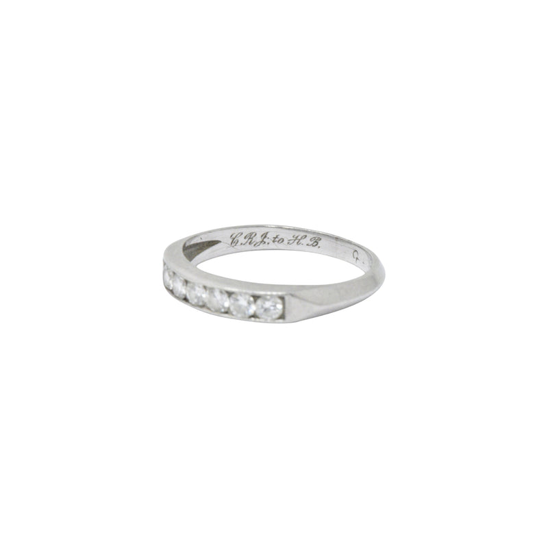 Art Deco 0.35 CTW Diamond Platinum Half Band Stackable Ring Ring