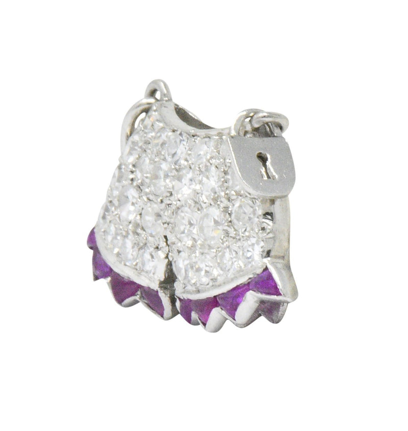 Art Deco 0.40 CTW Diamond Ruby Platinum Chastity Belt Charm - Wilson's Estate Jewelry