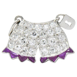 Art Deco 0.40 CTW Diamond Ruby Platinum Chastity Belt Charm bracelet Art Deco out-of-stock