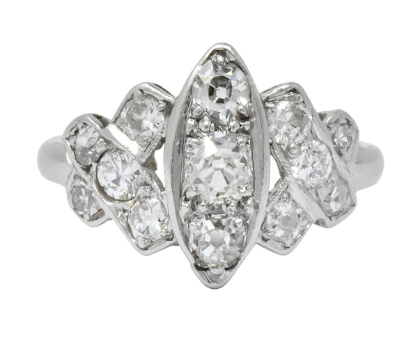 Art Deco 0.42 CTW Diamond Platinum Dinner Ring Ring