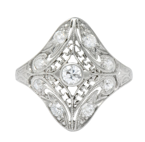 Art Deco 0.43 CTW Diamond Platinum Dinner Ring Ring