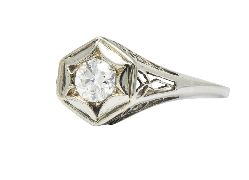 Art Deco 0.47 CTW Diamond 14 Karat White Gold Starburst Engagement Ring - Wilson's Estate Jewelry