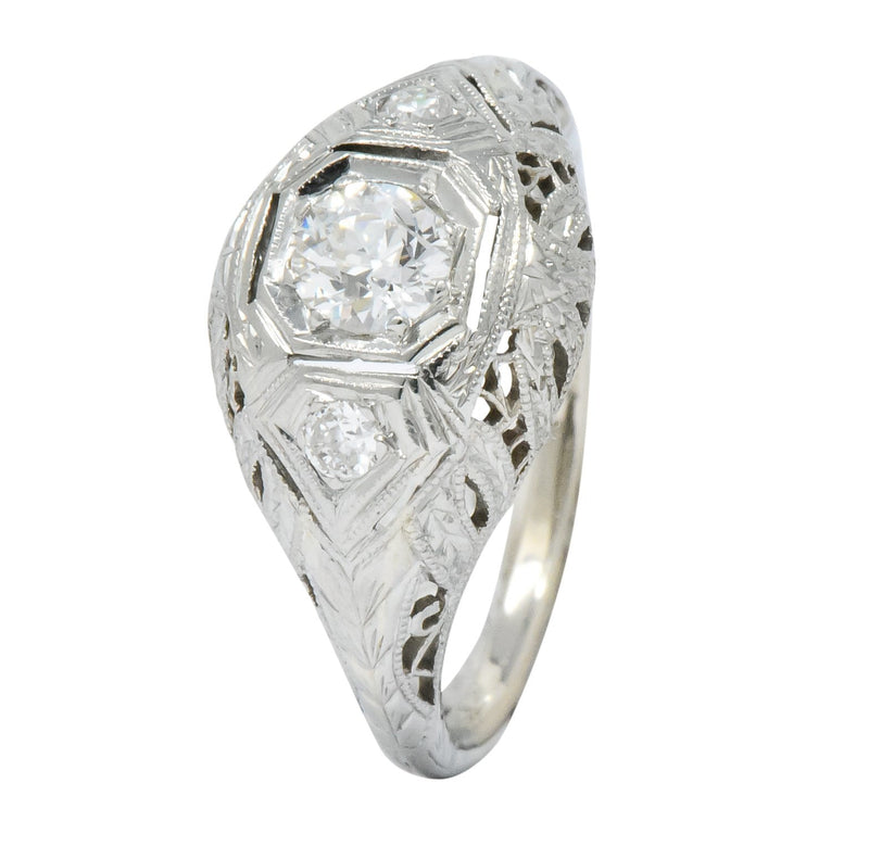 Art Deco 0.48 CTW Diamond 18 Karat White Gold Engagement Ring - Wilson's Estate Jewelry