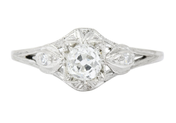 Art Deco 0.49 CTW Old European Diamond Platinum Engagement Ring Ring
