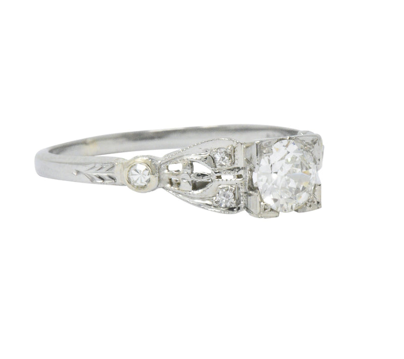 Art Deco 0.50 CTW Diamond 18 Karat White Gold Engagement Ring - Wilson's Estate Jewelry