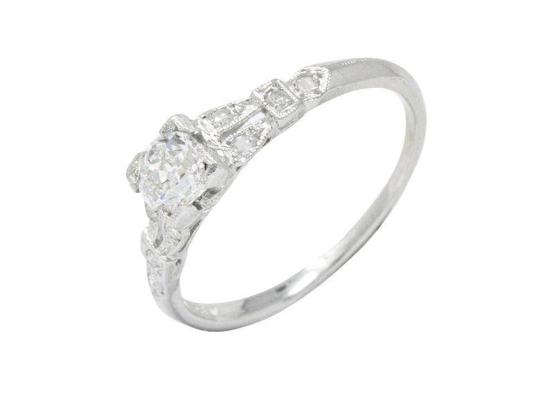 Art Deco 0.51 CTW Diamond Platinum Engagement Ring - Wilson's Estate Jewelry