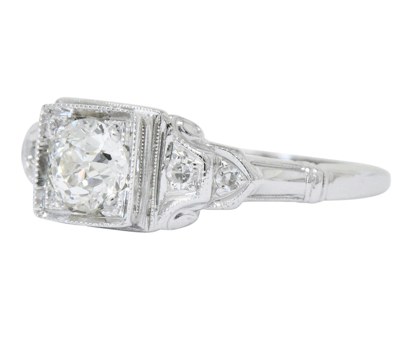 Art Deco 0.53 CTW Diamond 18 Karat White Gold Engagement Ring - Wilson's Estate Jewelry