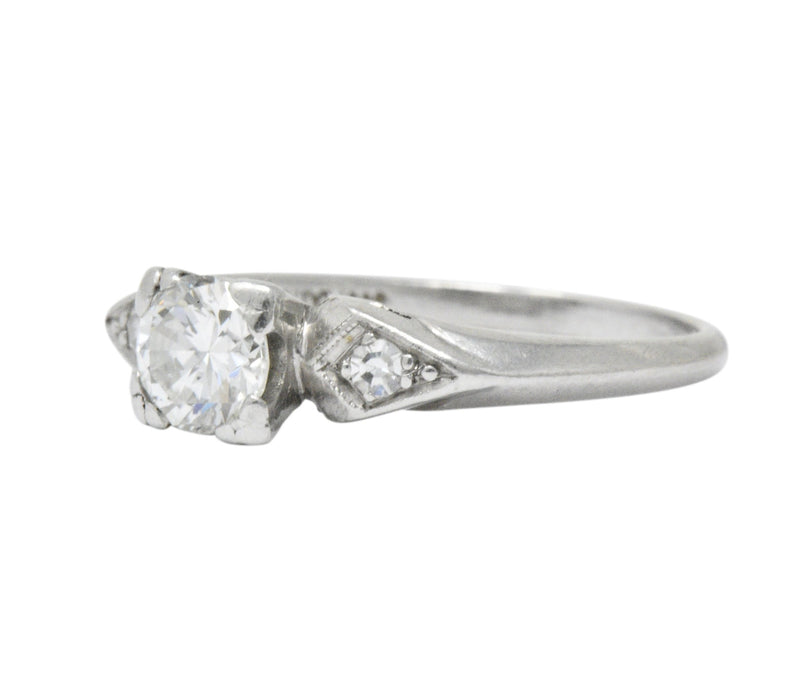 Art Deco 0.55 CTW Diamond Platinum Engagement Ring Ring
