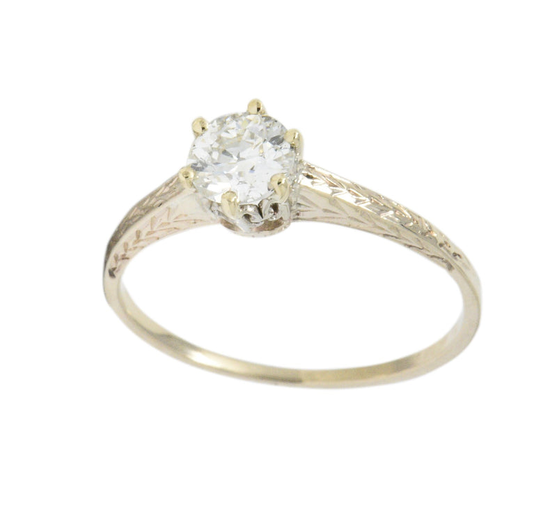 Art Deco 0.57 Carat Diamond 14 Karat Gold Solitaire Engagement Ring GIA Ring