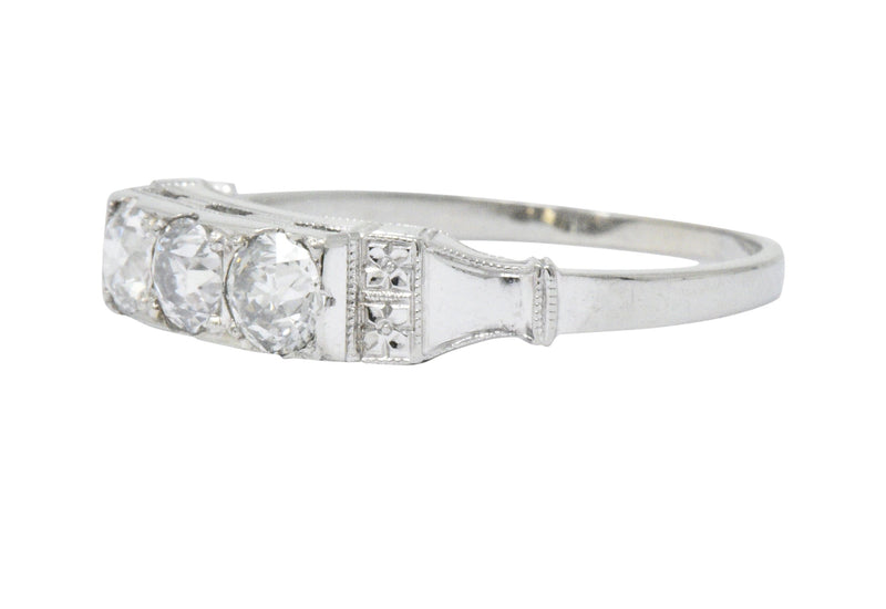 Art Deco 0.57 CTW Diamond 18 Karat White Gold Three Stone Band Ring Ring Art Deco