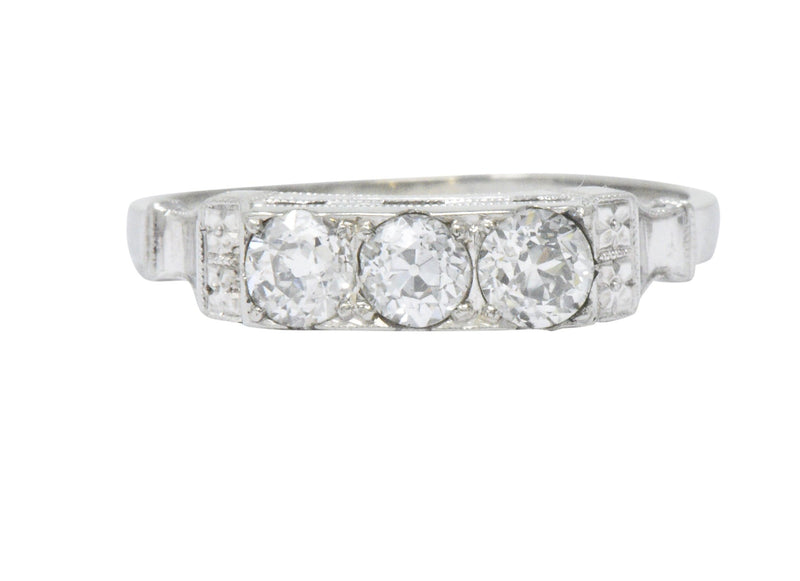 Art Deco 0.57 CTW Diamond 18 Karat White Gold Three Stone Band Ring - Wilson's Estate Jewelry