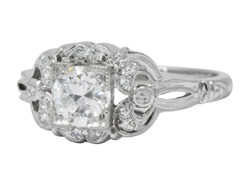 Art Deco 0.57 CTW Old European Cut Diamond Platinum Engagement Ring - Wilson's Estate Jewelry