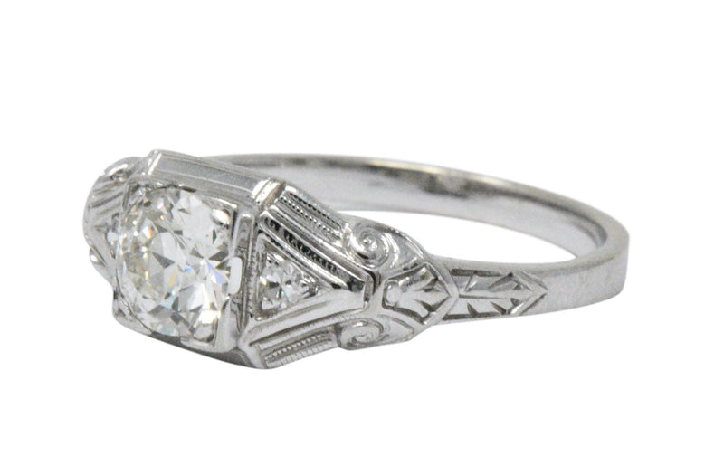 Art Deco 0.59 CTW Diamond 14 Karat White Gold Engagement Ring - Wilson's Estate Jewelry