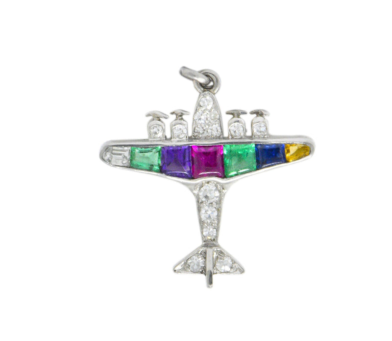 Art Deco 0.60 CTW Diamond Multi-Gemstone 'DEAREST' Platinum Airplane Pendant - Wilson's Estate Jewelry