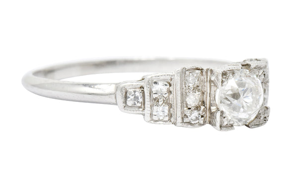 Art Deco 0.60 CTW Diamond Platinum Engagement Ring Circa 1930 - Wilson's Estate Jewelry