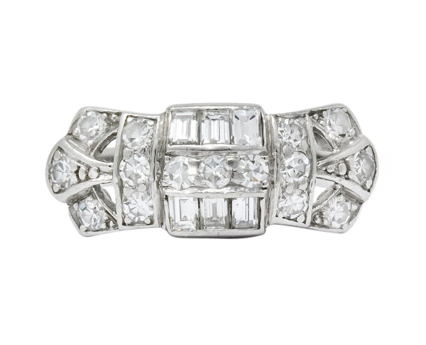 Art Deco 0.60 CTW Diamond Platinum Ring Ring
