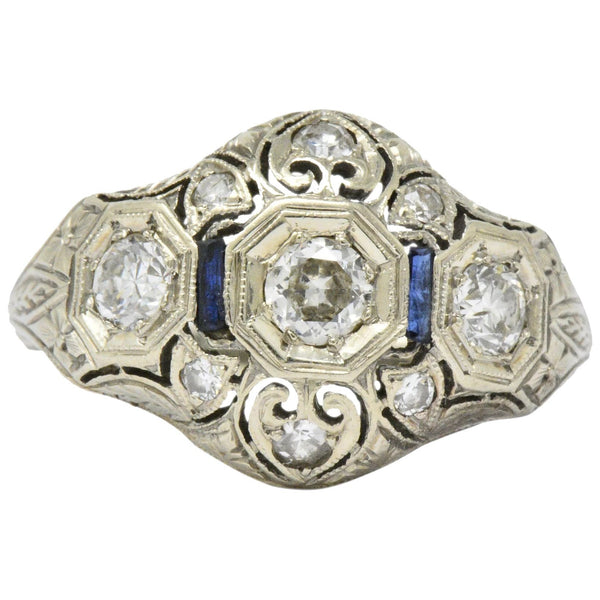 Art Deco 0.60 CTW Diamond Sapphire 18 Karat White Gold Ring - Wilson's Estate Jewelry