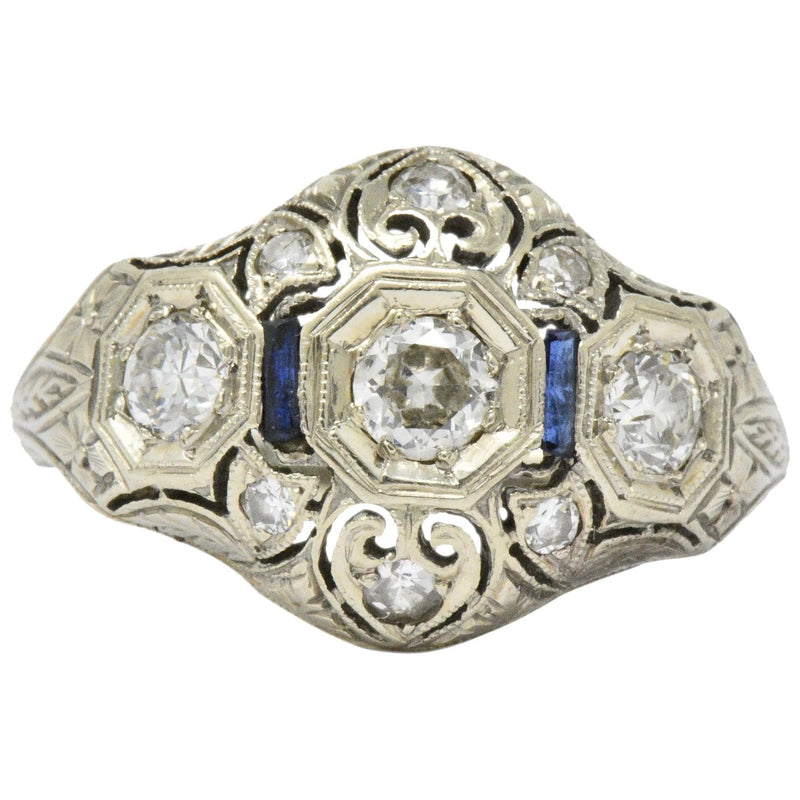 Art Deco 0.60 CTW Diamond Sapphire 18 Karat White Gold Ring Ring