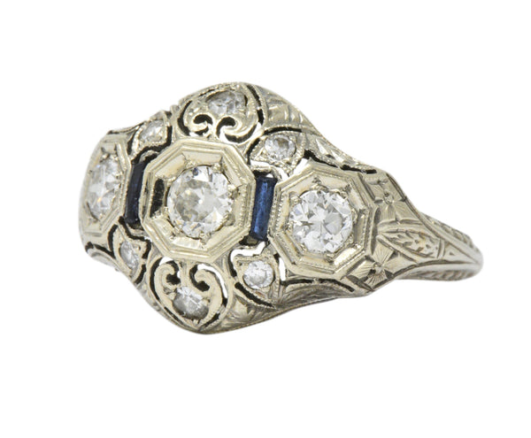 Art Deco 0.60 CTW Diamond Sapphire 18 Karat White Gold Ring Ring Art Deco out-of-stock