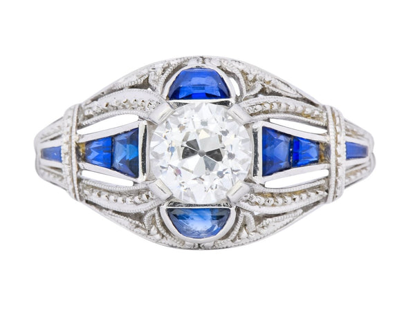 Art Deco 0.60 CTW Diamond Sapphire Platinum Engagement Ring Ring Art Deco Diamond Engagement Most Wanted Old European Cut