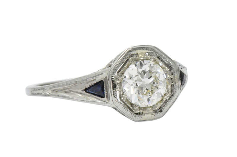Art Deco 0.69 CTS Diamond Sapphire 18 Karat White Gold Engagement Ring GIA Ring