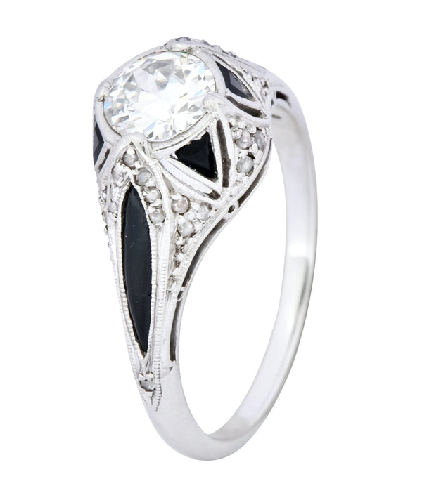 Art Deco 0.80 CTW Diamond Onyx Platinum Engagement Ring Ring