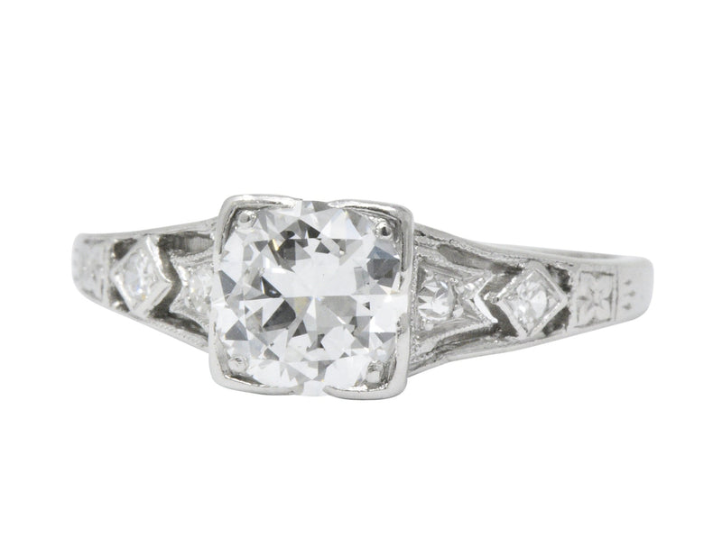 Art Deco 0.84 CTW Diamond Platinum Engagement Ring GIA - Wilson's Estate Jewelry