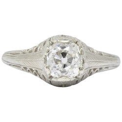 Art Deco 0.92 CTW Diamond 18 Karat White Gold Solitaire Engagement Ring GIA Ring