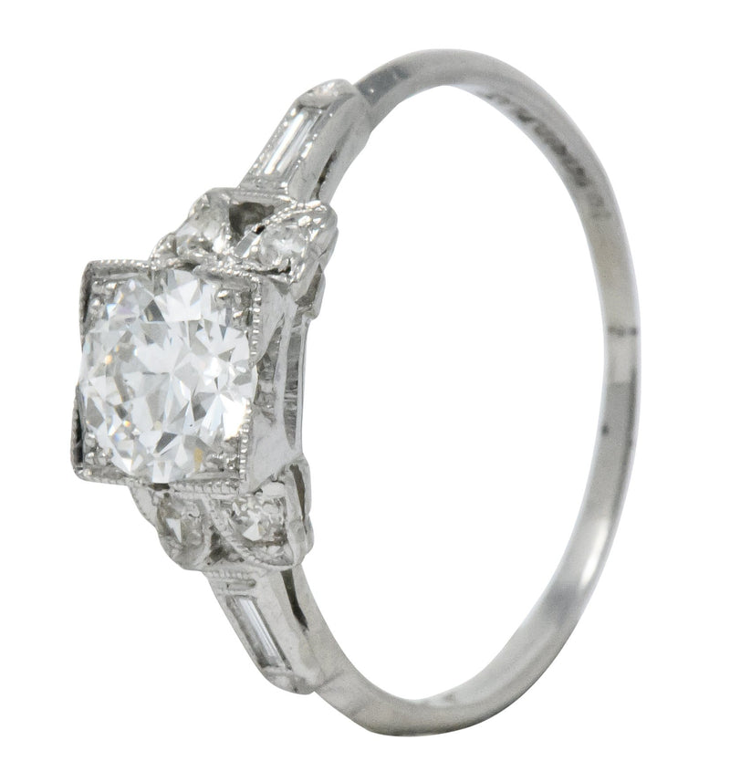 Art Deco 0.97 CTW Diamond Platinum Engagement Ring GIA Ring