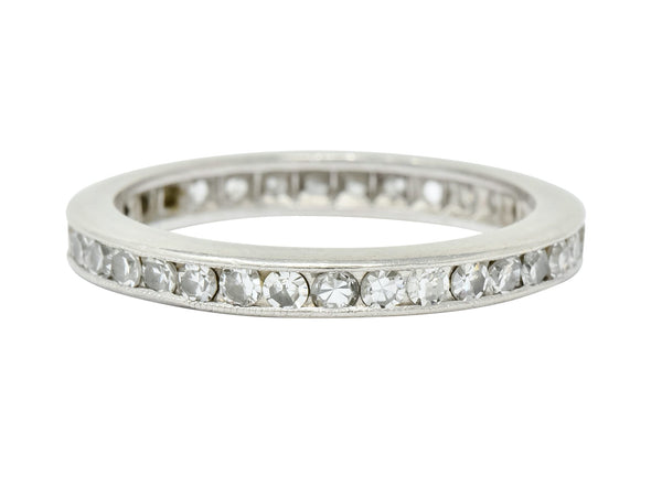 Art Deco 1.00 CTW Diamond Platinum Channel Eternity Band Ring Ring Art Deco diamond Single cut