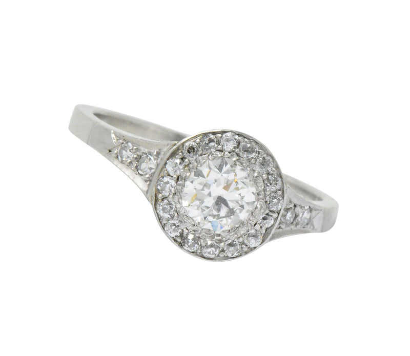 Art Deco 1.10 CTW Diamond Low Profile Platinum Engagement Ring Ring