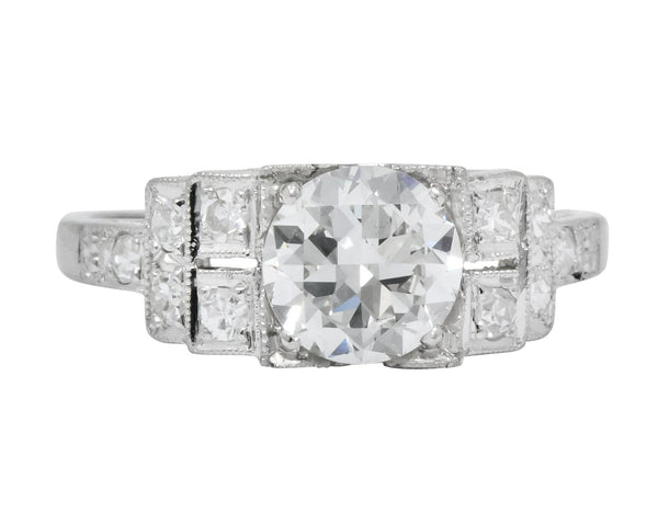 Art Deco 1.20 CTW Diamond Platinum Engagement Ring GIA Ring