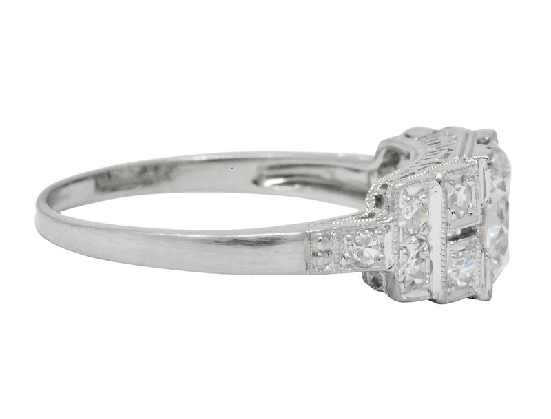 Art Deco 1.20 CTW Diamond Platinum Engagement Ring GIA - Wilson's Estate Jewelry