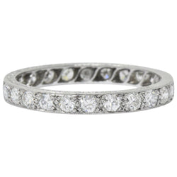 Art Deco 1.20 CTW Diamond Platinum Eternity Stack Band Ring Ring Art Deco out-of-stock