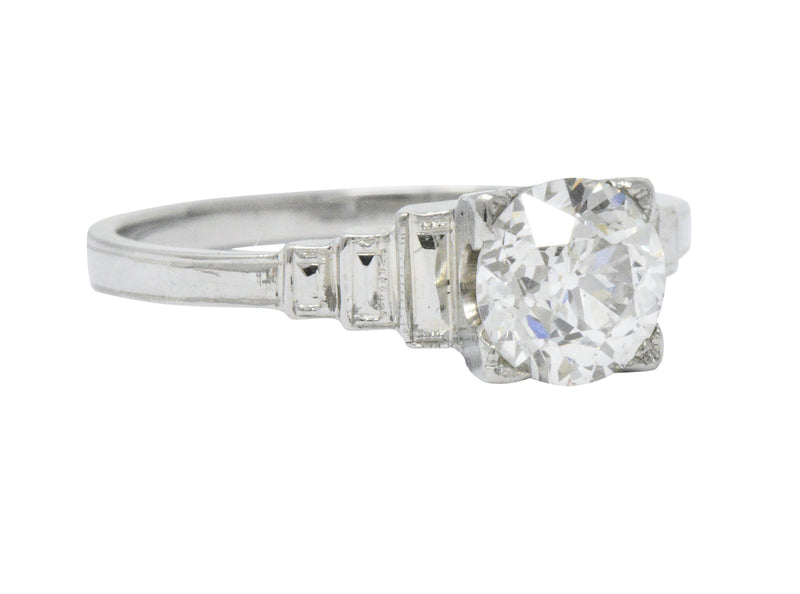 Art Deco 1.23 Carat Diamond Platinum Engagement Ring GIA