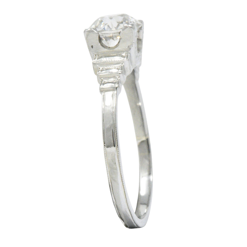 Art Deco 1.23 CTW Old European Diamond Platinum Engagement Ring GIA - Wilson's Estate Jewelry