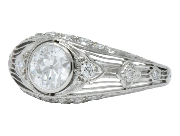 Art Deco 1.30 CTW Old European Cut Diamond Platinum Engagement Ring Ring