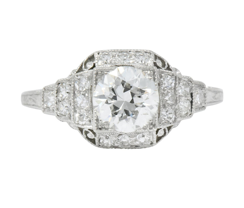 Art Deco 1.51 CTW Old European Cut Diamond Platinum Engagement Ring GIA - Wilson's Estate Jewelry