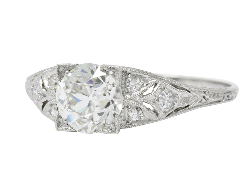 Art Deco 1.60 CTW Diamond Platinum Engagement Ring, GIA - Wilson's Estate Jewelry
