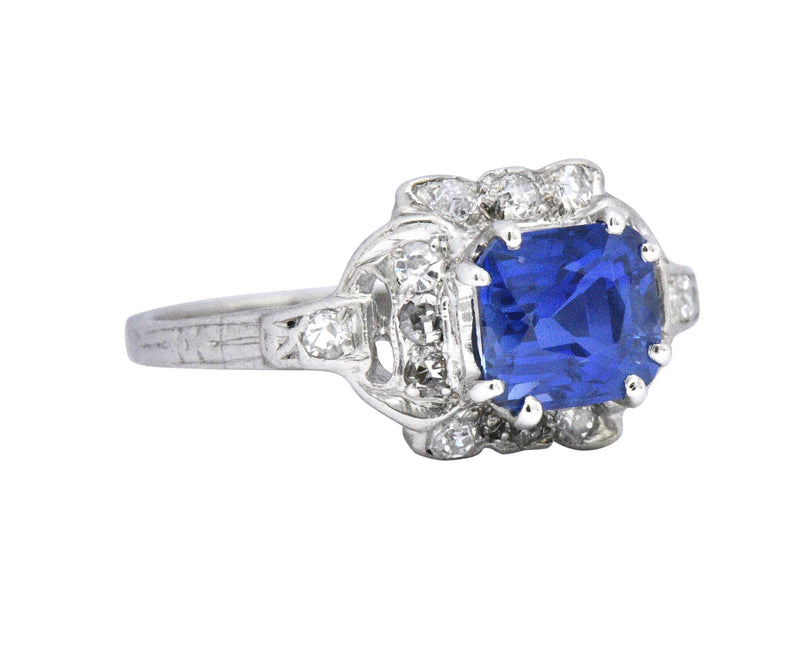 Art Deco 1.67 CTW Unheated Kashmir Sapphire Diamond & Platinum Ring AGL Certified Ring