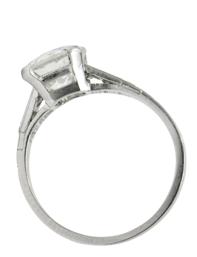 Art Deco 1.83 CTW Diamond Platinum Engagement Ring GIA Ring