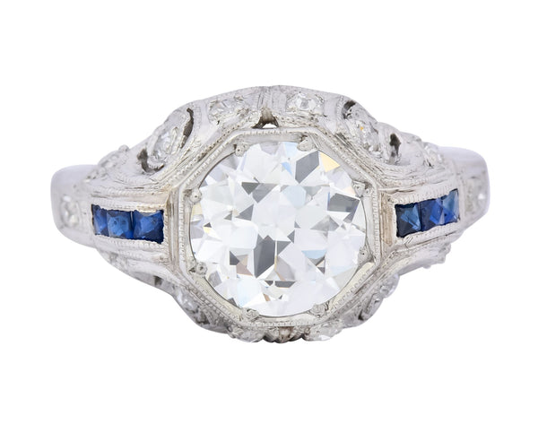 Art Deco 1.83 CTW Diamond Sapphire Platinum Engagement Ring GIA - Wilson's Estate Jewelry